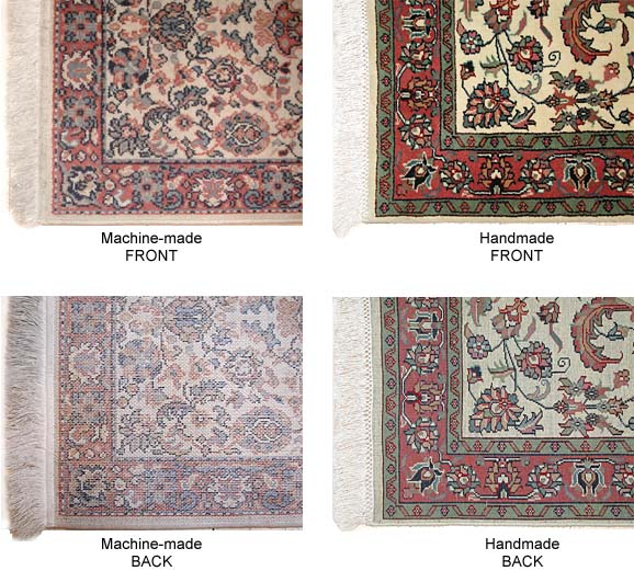 Can You Tell The Difference Between A Genuine Hand Made And Machine Wool Or Silk Area Rug