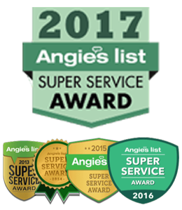 2017 Angies List Super Service Award badge with 2013-2016 badges beneath